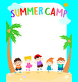 happy summer kids camp poster vector image vector image