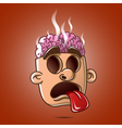 head brain burst showing tongue without eyes vector image vector image
