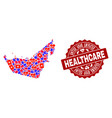 healthcare collage of mosaic map of united arab vector image vector image