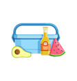 lunch box with avocado watermelon and bottle of vector image vector image