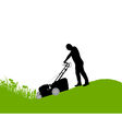Man with lawn-mower vector image vector image
