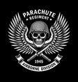 military skull emblem graphic on black vector image vector image