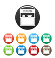 noodle selling icons set color vector image vector image