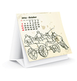 October 2014 desk horse calendar vector image vector image