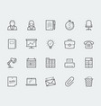 office elements thin line icon set vector image