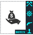 open palm hold money bag icon flat vector image