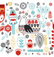 ornamental hand drawn with animal and vector image vector image