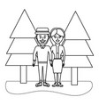outline beauty couple together with pine trees vector image vector image