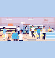people in grocery store customers buying food in vector image vector image