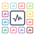 pulse flat icons set vector image vector image