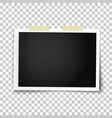 realistic photo frame placed on wall vector image