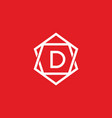 red white d initial letter in frame vector image vector image