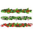 set christmas holly and mistletoe flowers garland vector image vector image