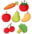 set different fruits and vegetables vector image