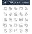 set line icons 3d cars printing vector image