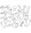 set of cute cartoon rabbits vector image vector image