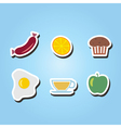 set of monochrome icons with breakfast symbols vector image