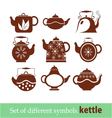 set of symbols kettle teapot vector image vector image
