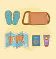 travel vacations set icons vector image vector image