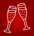 two glasses of champagne line icon valentines day vector image vector image