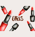 watercolor cosmetic red lipstick with girl text vector image vector image