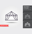 wedding tent line icon with shadow and editable vector image