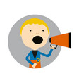 young blond boy with megaphone round avatar icon vector image vector image