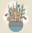 abstract spring bunch of geometric flowers in a vector image