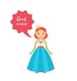 Cute cartoon princess with speech bubble vector image