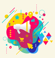Loudspeaker on abstract colorful spotted vector image