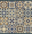 a collection of ceramic tiles in blue and beige vector image vector image