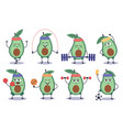 avocado fitness funny doodle character do vector image vector image