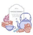 badge design with pastel candies cupcake teapots vector image