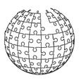 ball in puzzle pieces icon vector image vector image