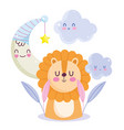 bashower little lion moon and star celebration vector image vector image