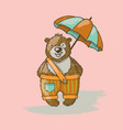 bear umbrella cartoon animal hand drawn ill vector image vector image