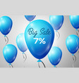 blue balloons with an inscription big sale seven vector image