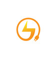 bolt plug logo vector image vector image