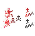 broken dotted halftone man steps deaths icon vector image