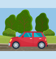car drive on a dirt road in countryside vector image vector image