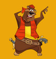 cartoon funny bear in the clothes of a pirate vector image vector image