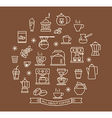 Coffee outline icons set vector image vector image