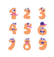 Colorful cute doodle monsters numbers set