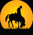 Cowboy in the Wild Horse vector image vector image
