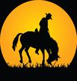 cowboy in wild horse vector image