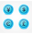 Currency signs on glossy icons vector image vector image