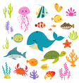 Cute underwater world vector image