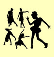 dancing pose man and woman silhouette vector image vector image