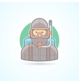Diver scuba diving man with aqualung icon vector image