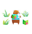 fairy tale forest wild animals bear and rabbit vector image vector image